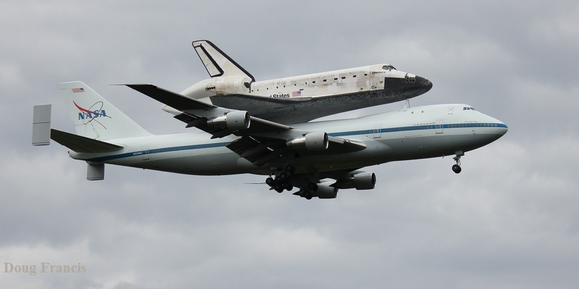 Discovery Space Shuttle flying piggyback